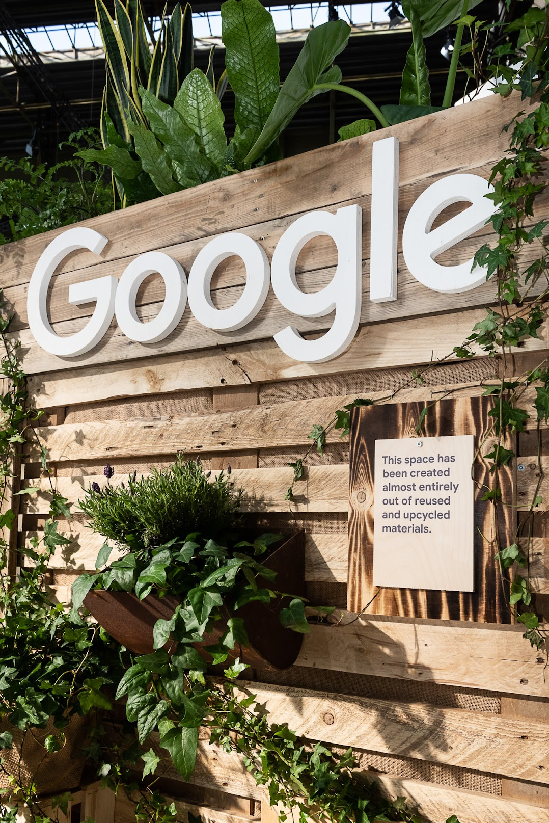 Google's booth at the Greentech Festival in Berlin, Germany in May 2019 designed by Dusty Reid, Marketing Events Manager for Google Earth. The wood used is from shipping pallets that have been cleaned and sanded, or from demolished houses.