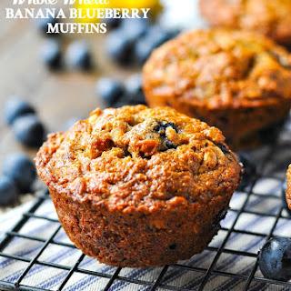 Whole Wheat Banana Blueberry Muffins.