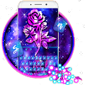 Luxury Galaxy Rose Keyboard Theme APK