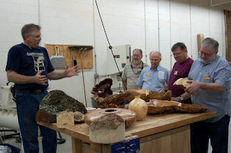Photo: Hal, Phil, Richard, and Michael look on in awe at some of Alan's turned and carved burls.