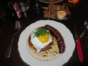 Photo: Horse fillet wrapped with bacon, a fried egg, and a sausage