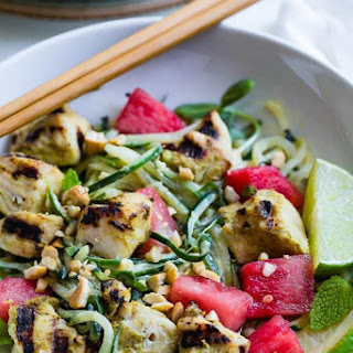 Green Cashew Curry Chicken Bowls with Watermelon.