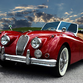 Jag by JEFFREY LORBER - Transportation Automobiles ( red, jeffrey lorber, rust 'n chrome, cars, car photo, red car, lorberphoto, jaguar,  )