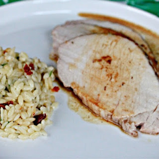 Brown Sugar-Rubbed Pork Loin with Orzo.