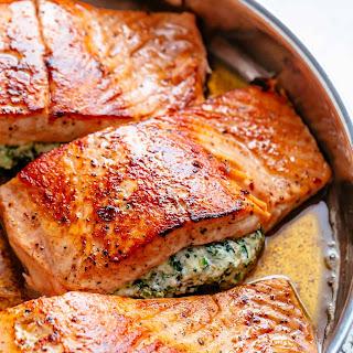Creamy Spinach Stuffed Salmon.