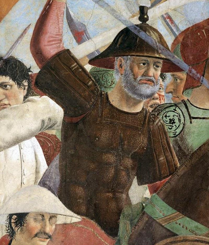 Piero della Francesca, Battaglia di Eraclio e Cosroè, affresco (dettaglio, l'imperatore Eraclio, al centro, a cavallo con l'uniforme dorata), Basilica di San Francesco, Arezzo
