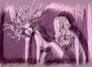 "Photo: Medusa (sketch 2), digital final, 2012, 12"" x 17"", original is charcoal on primed canvas sheet."