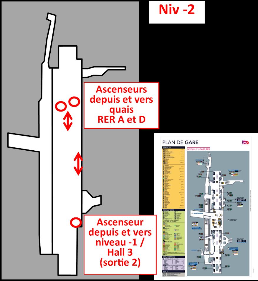 plan niveau -2 Gare de Lyon