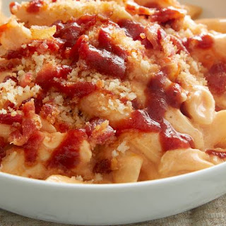 Slow-Cooker Barbecue Bacon, Chicken and Cheddar Pasta.