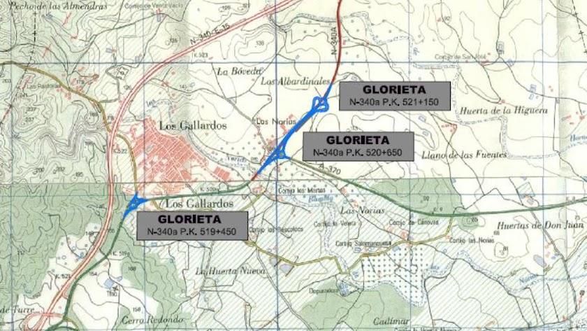 Mapa con la situación de las tres rotondas que irán en la N-340a.