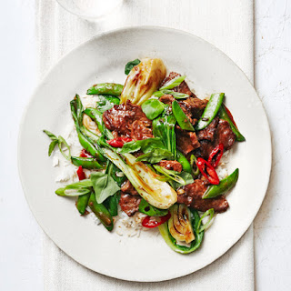 Steak Stir-Fry With Snap Peas, Bok Choy, and Basil