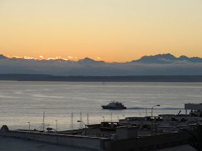 Photo: Sunset over Puget Sound and the Olympic Mountains.