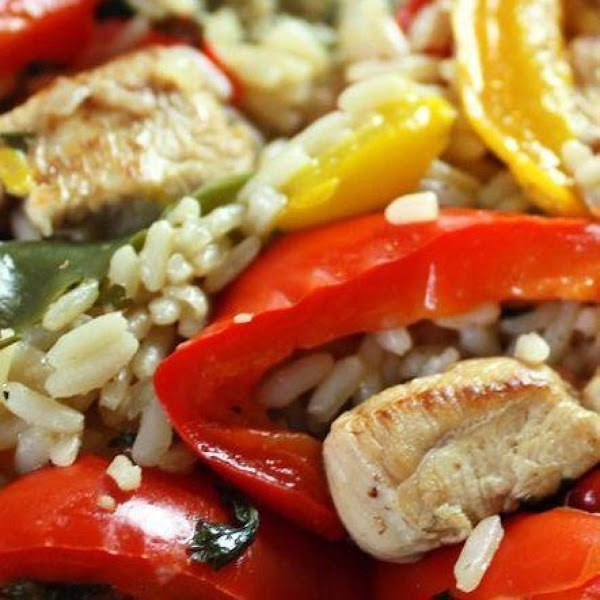 Chicken & Peppers With Rice Stir Fry Recipe