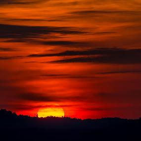 Bloody Sunrise by John Crongeyer - Landscapes Sunsets & Sunrises ( orange, red, nature, sunset, cloudy, beauty, sunrise, morning, landscape, early, sun )