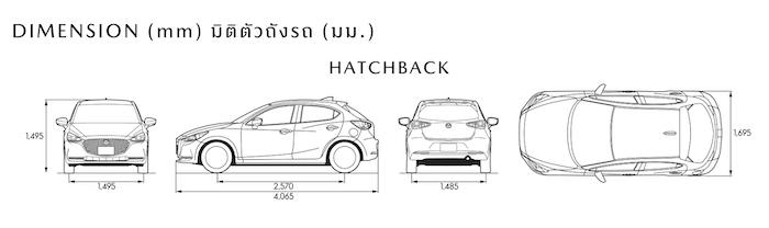 มิติตัวถังของ Hatchback