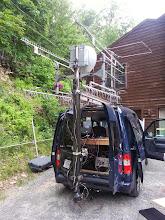 Photo: Microwave mast and antenna array. Top L-> Bottom R - 2.3G 45L, 3.4G 76L, 5&10G 2' dish, 1.2G 25L, 902 18L