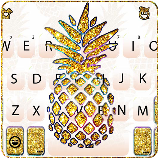 Gold Glitter Pineapple Keyboard Theme Icon