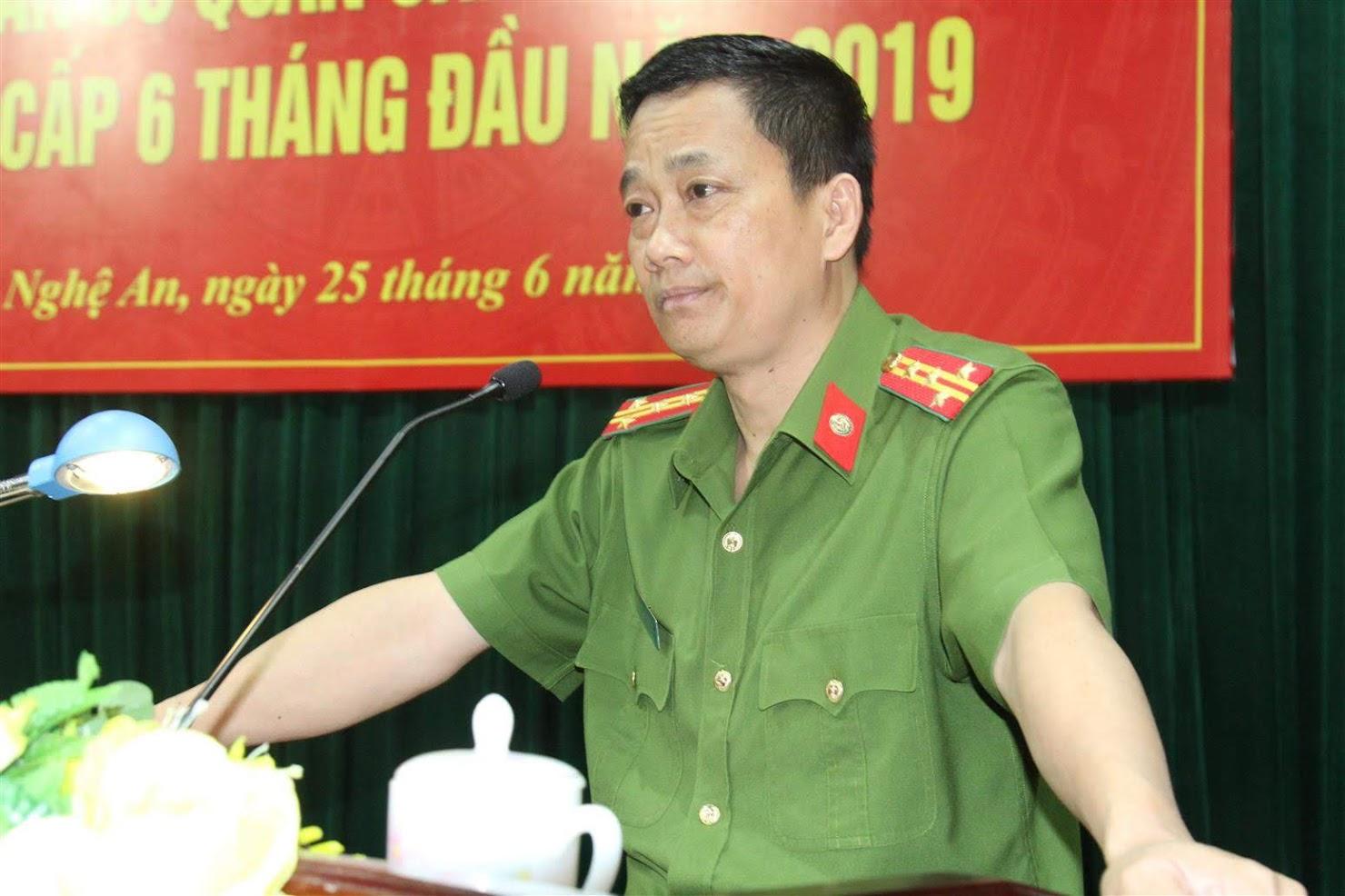 Đồng chí Đại tá Nguyễn Mạnh Hùng, Phó Giám đốc Công an tỉnh, Thủ trưởng cơ quan CSĐT  phát biểu chỉ đạo