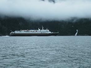 Photo: An Alaska Ferry heads southward down Taiya Inlet.