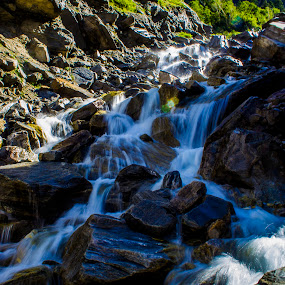 Let it flow... by Chandrasekhar Yanamandra - Nature Up Close Water ( mountain, rocks, waterfall, winter, water )