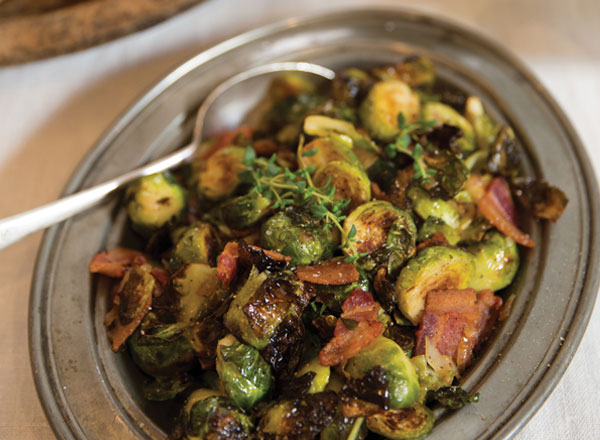 Roasted Brussels Sprouts with Bacon and Warm Cider Vinaigrette Recipe