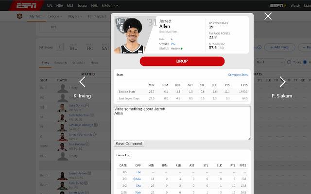 Fantasy Espn Basketball Player Comment
