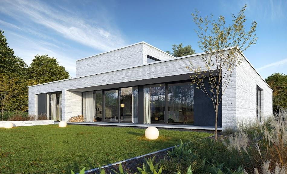 Wizualizacja projektu tygodnia - Dom z patio 1 (TLR-158)