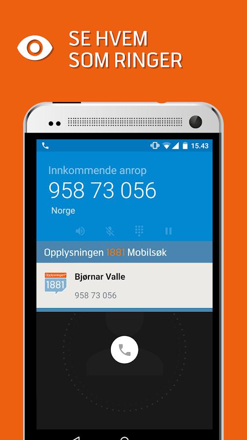 Opplysningen 1881 Mobilsøk- screenshot