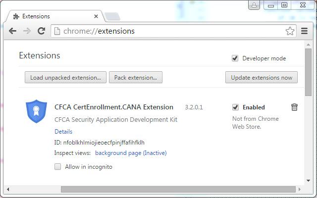 CFCA CertEnrollment.CANA Extension