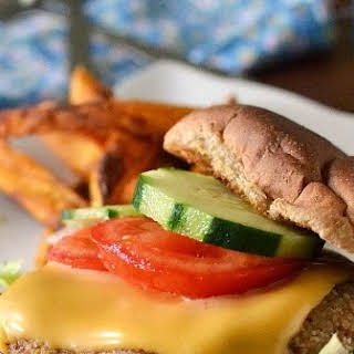 Adzuki Beans & Brown Rice Burger with Sweet Potato Fries.