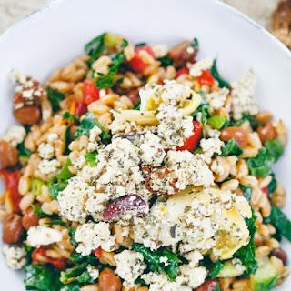 Farro Salad with Fava Beans + Vegan Feta.
