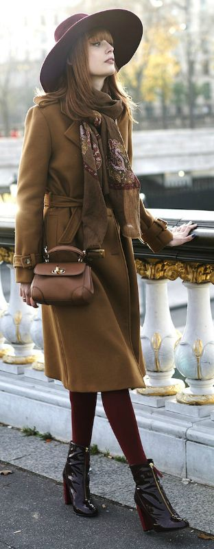 Casual outfit with brown neutral coat, print scarf, great hat and dark red boots for Warm Autumn women