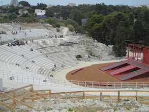 Photo: They were getting ready for the summer season when we visited, with the stage already built out. Unfortunately, we got there a couple weeks too early to see a play. They were doing Alcestis (Euripides), Elektra (Sophocles), and Phaedra (Seneca) this year.