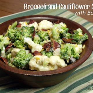 Broccoli and Cauliflower Salad with Bacon.