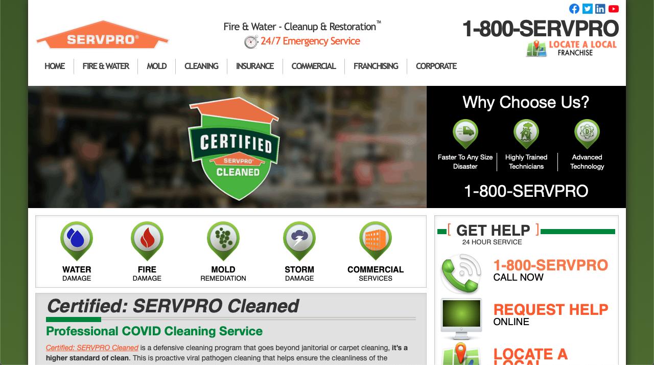 SERVPRO restoration franchise website homepage
