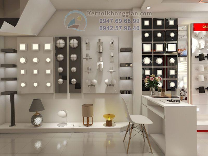 thiết kế cửa hàng đèn điện diện tích nhỏ