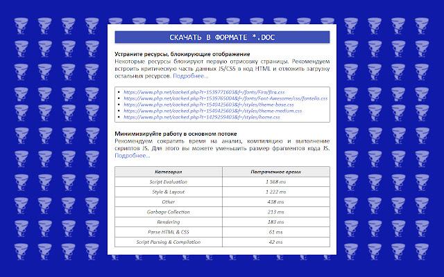PAGESPEEDPLUS — ассистент для GooglePagespeed