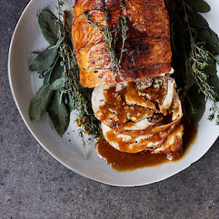 Roasted Turkey Breast Roulade with Grain-free Herbed Sausage Stuffing
