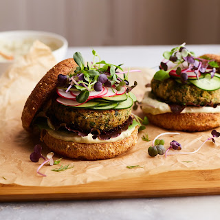 Quinoa White Bean Burgers With A Special Sauce.