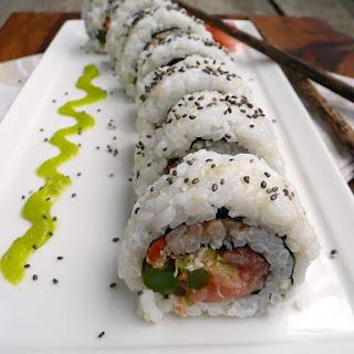 Asparagus Smoked Salmon Sushi.