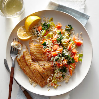 Coriander-Crusted Tilapia With Brown Rice and Vegetables.