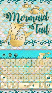 Seaside Teal Mermaid Keyboard - náhled