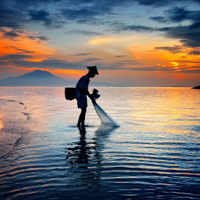 Fisherman by Hendri Suhandi - People Portraits of Men ( pwcsilhouettemotion, silhouette, fisherman, portrait )
