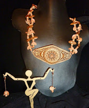 Photo: <BEREHYNYA> {Great Goddess Protectress} unique one-of-a-kind statement jewellery by Luba Bilash ART & ADORNMENT  61 - HUTSULKA - ГУЦУЛКА - carved birch bark pendant, clay, wood, bone, rose gold vermеil $80/set SOLD