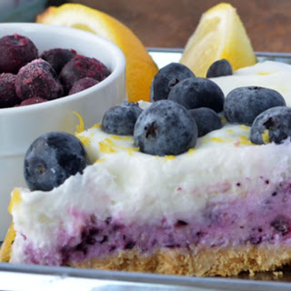 Layered Frozen Yogurt Blueberry Lemon Pie.