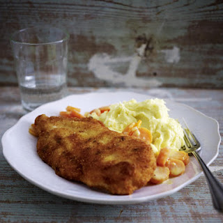 Chicken Schnitzel with Creamy Carrots and Mashed Potatoes.