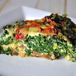 Crustless Quiche with Mushrooms, Spinach & Sun Dried Tomatoes (Quiche sem Crosta com Cogumelos, Espinafre & Tomates Secos)