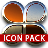 Orange silver icon pack HD 3D