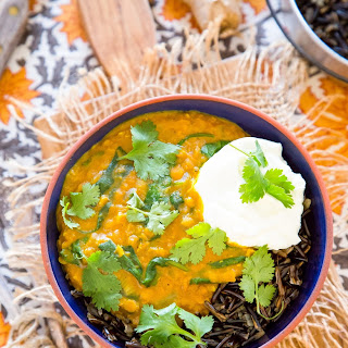 Wild Rice Bowl with Red Lentil-Coconut Curry and Spinach.