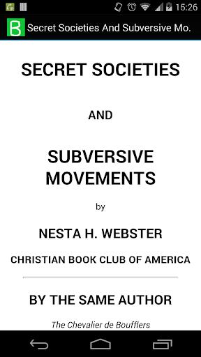Secret Societies Subversive